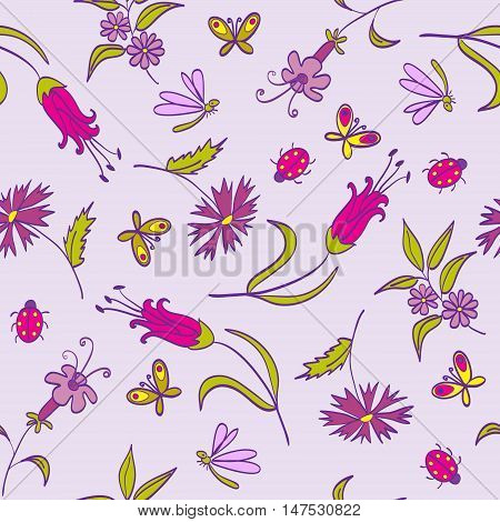 Seamless Pattern With Flowers And Butterflies On The Lilac Background