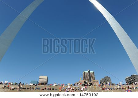 SAINT LOUIS, MISSOURI - SEPTEMBER 12: People starts gathering for the rally of the Tea Party Patriots in Downtown Saint Louis under the Arch, on September 12, 2010