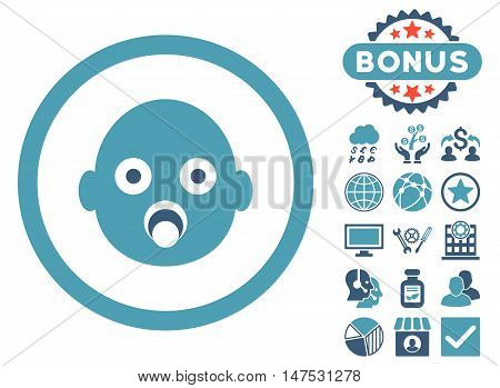 Baby Head icon with bonus symbols. Vector illustration style is flat iconic bicolor symbols, cyan and blue colors, white background.