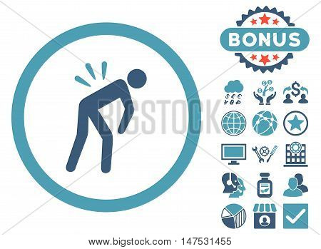 Backache icon with bonus pictogram. Vector illustration style is flat iconic bicolor symbols, cyan and blue colors, white background.
