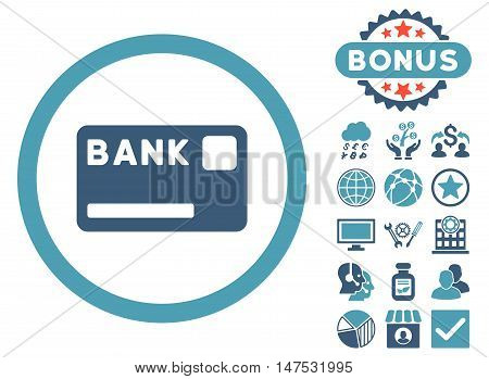 Bank Card icon with bonus symbols. Vector illustration style is flat iconic bicolor symbols, cyan and blue colors, white background.