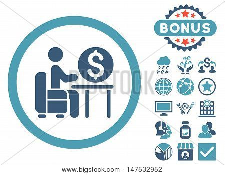 Banker Office icon with bonus pictogram. Vector illustration style is flat iconic bicolor symbols, cyan and blue colors, white background.