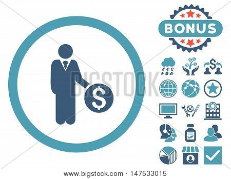 Banker icon with bonus pictures. Vector illustration style is flat iconic bicolor symbols, cyan and blue colors, white background.