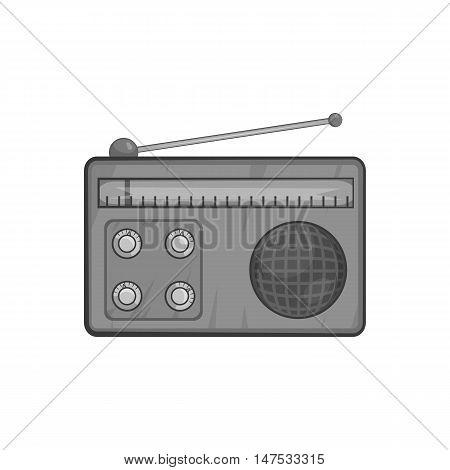 Radio icon in black monochrome style isolated on white background. Music symbol vector illustration