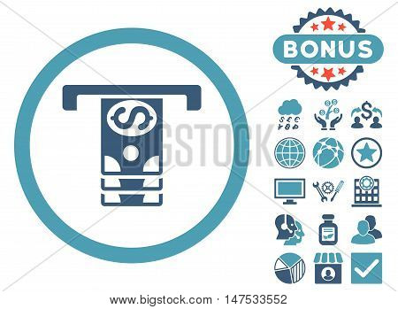 Banknotes Withdraw icon with bonus pictures. Vector illustration style is flat iconic bicolor symbols, cyan and blue colors, white background.