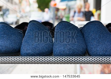 Blue Wool House Slippers Clothing Pajamas Sale Stand Outdoors