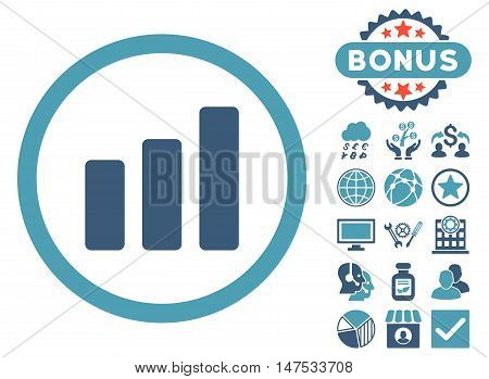 Bar Chart Increase icon with bonus pictures. Vector illustration style is flat iconic bicolor symbols, cyan and blue colors, white background.