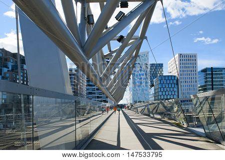OSLO, NORWAY - AUGUST 27, 2016: Akrobaten pedestrian bridge and Barcode in Oslo.