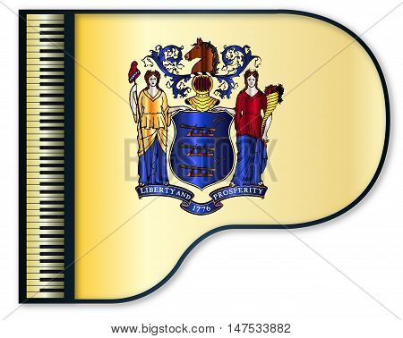 The New Jersey state flag set into a traditional black grand piano