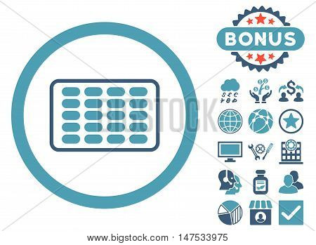 Blister icon with bonus images. Vector illustration style is flat iconic bicolor symbols, cyan and blue colors, white background.