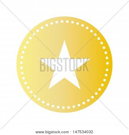 gold circle shape with star inside. rating symbol. vector illustration