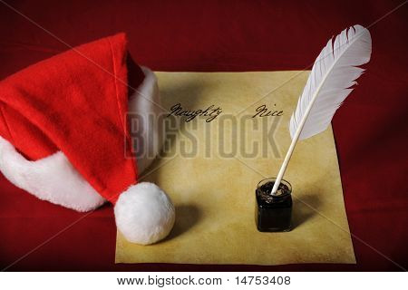 Santa's List with Naughty and Nice columns and quill, ink, and parchment paper