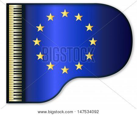 The EU flag set into a traditional black grand piano