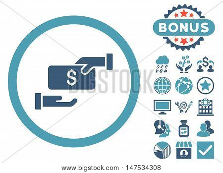 Bribe icon with bonus elements. Vector illustration style is flat iconic bicolor symbols, cyan and blue colors, white background.