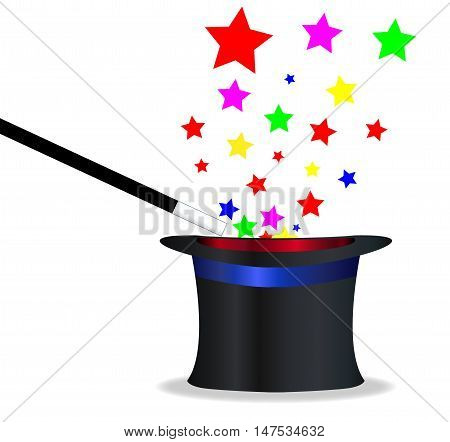 A magicians hat and wand with magic stars over a white background