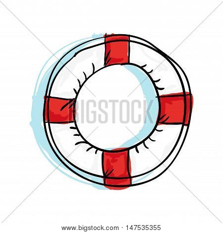 nautical white lifebuoy float with red.  safety water protection element. drawn design. vector illustration