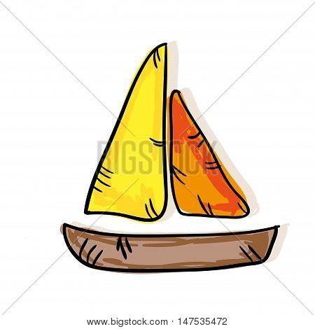 colorful sailboat sea ship. drawn design. vector illustration