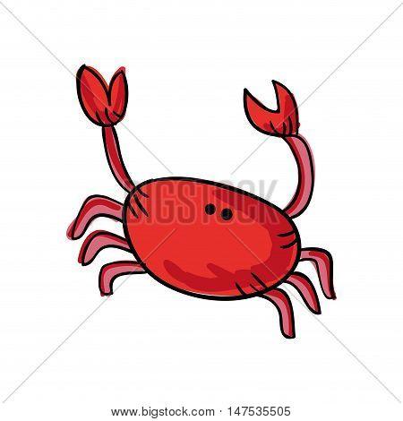 red crab sea animal cartoon. drawn design. vector illustration