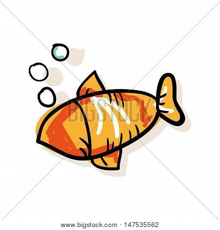 orange fish and water bubbles. drawn design. vector illustration