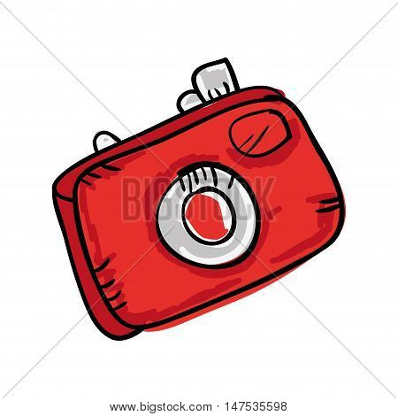 photographic red camera. photography and technology device. drawn design vector illustration
