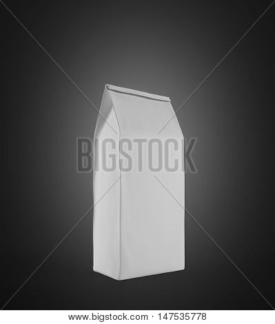 White Lunch Paper Bag Standing On Black Surface