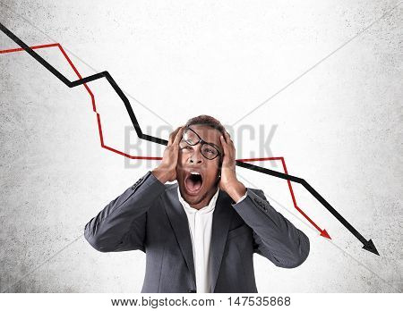 African American Man And Stock Market Failure