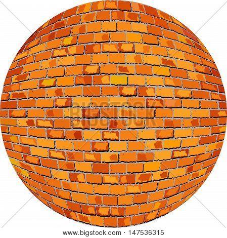 Orange brick ball - Illustration,  Orange Sphere in brick style,  Abstract grunge orange brick in circle