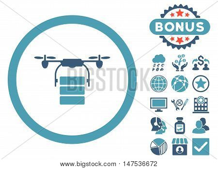 Cargo Drone icon with bonus symbols. Vector illustration style is flat iconic bicolor symbols, cyan and blue colors, white background.