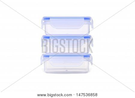 Stacks of plastic microwavable boxes isolated on white