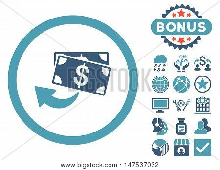 Cashback icon with bonus images. Vector illustration style is flat iconic bicolor symbols, cyan and blue colors, white background.