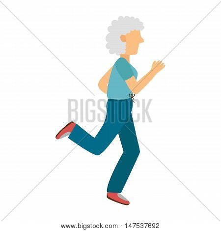 Vector illustration with cartoon running old woman. Cartoon character. Old people activity. Vector gym or outdoor healthy lifestyle. Sport for adult old people. Cartoon active woman background