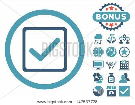 Checkbox icon with bonus images. Vector illustration style is flat iconic bicolor symbols, cyan and blue colors, white background.