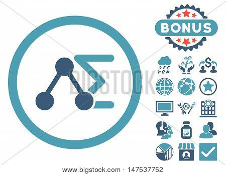 Chemical Formula icon with bonus pictogram. Vector illustration style is flat iconic bicolor symbols, cyan and blue colors, white background.