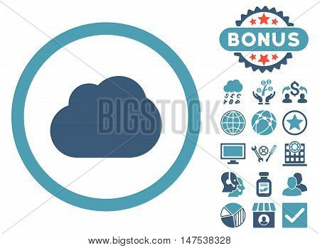 Cloud icon with bonus images. Vector illustration style is flat iconic bicolor symbols, cyan and blue colors, white background.