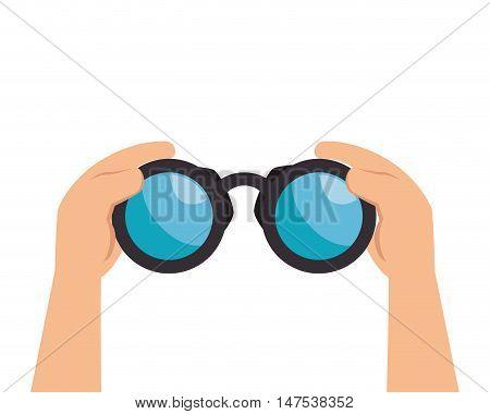human hands holding binoculars. explore navigation equipment. vector illustration