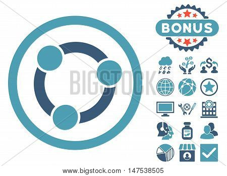 Collaboration icon with bonus images. Vector illustration style is flat iconic bicolor symbols, cyan and blue colors, white background.
