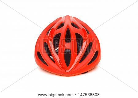 bicycle helmet in red color isolated on white