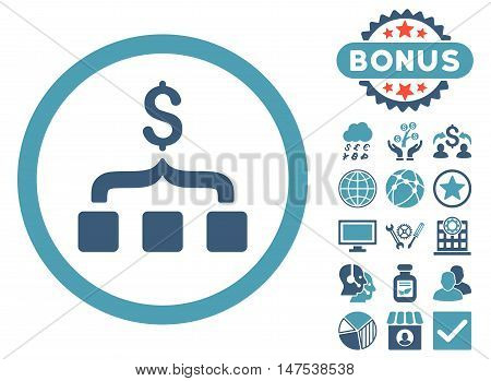 Collect Money icon with bonus elements. Vector illustration style is flat iconic bicolor symbols, cyan and blue colors, white background.