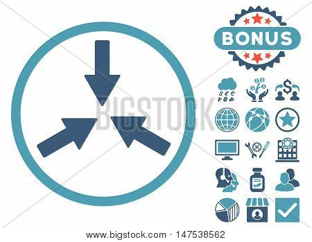 Collide Arrows icon with bonus pictogram. Vector illustration style is flat iconic bicolor symbols, cyan and blue colors, white background.