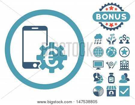 Configure Mobile Euro Bank icon with bonus symbols. Vector illustration style is flat iconic bicolor symbols, cyan and blue colors, white background.