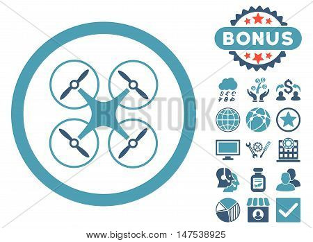 Copter icon with bonus pictogram. Vector illustration style is flat iconic bicolor symbols, cyan and blue colors, white background.