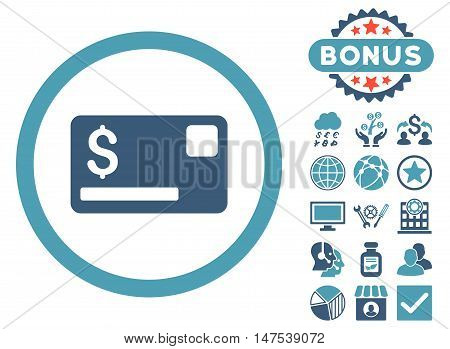Credit Card icon with bonus symbols. Vector illustration style is flat iconic bicolor symbols, cyan and blue colors, white background.