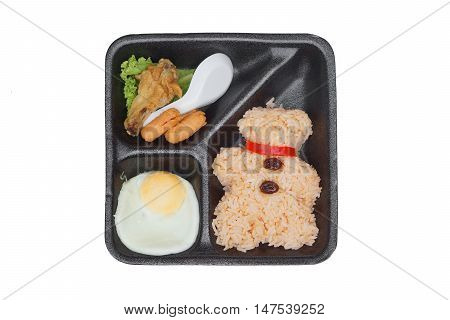 Takeaway food - Fried rice with fried egg, hot dogs, and chicken on black foam plate