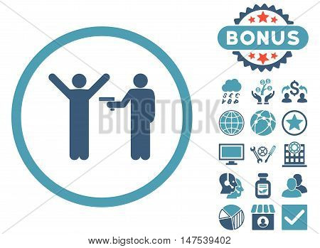 Crime icon with bonus design elements. Vector illustration style is flat iconic bicolor symbols, cyan and blue colors, white background.