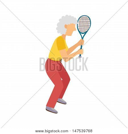Vector Cartoon Active Old Woman