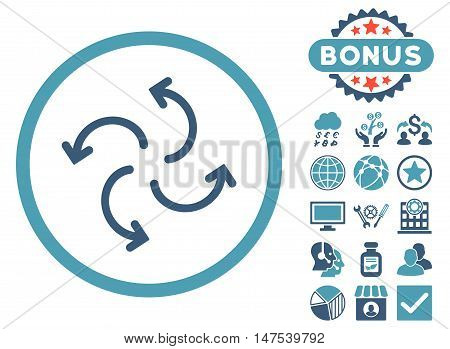 Cyclone Arrows icon with bonus symbols. Vector illustration style is flat iconic bicolor symbols, cyan and blue colors, white background.