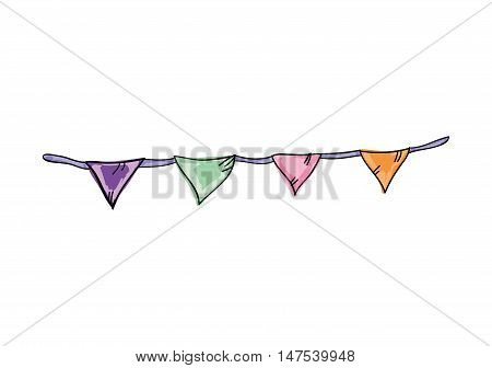 colorful bunting flags party decoration. drawn design. vector illustration