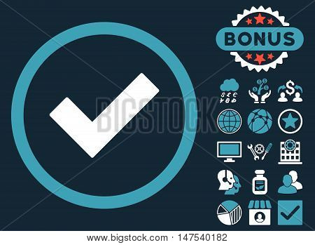 Accept icon with bonus design elements. Vector illustration style is flat iconic bicolor symbols, blue and white colors, dark blue background.