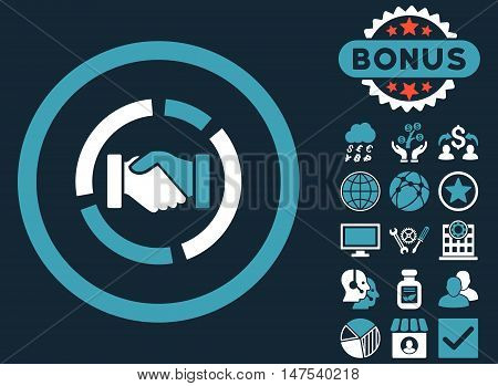 Acquisition Diagram icon with bonus pictures. Vector illustration style is flat iconic bicolor symbols, blue and white colors, dark blue background.