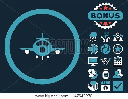 Aircraft icon with bonus pictures. Vector illustration style is flat iconic bicolor symbols, blue and white colors, dark blue background.